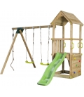 Complete play tower with swing and slide