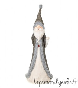 Lutin de noel Santa 120cm de haut avec fourrure pour intérieur et extérieur