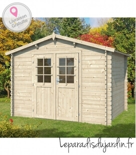 Wooden garden shed with two sides of 9m² (3m x 3m)