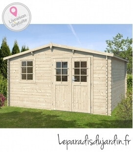 Two-sided wooden garden shed of 12m² (4m x 3m)