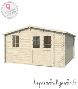 16m² two-sided wooden garden shed (4m x 4m)