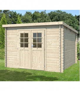 Single slope wooden garden shed of 9m² (3m x 3m)