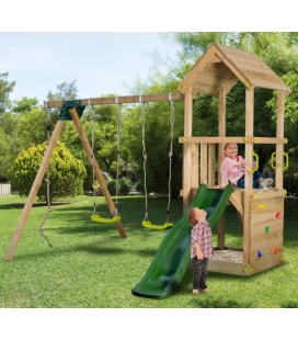 Complete play tower with swing and slide DARK GREEN