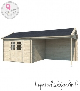 Wooden garden shed with two sides of 9m² (3m x 3m) + awning of 9m² (3m x 3m)