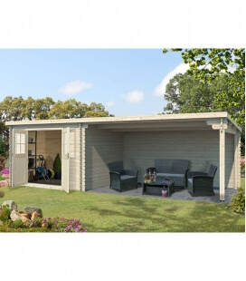 Abri de jardin en bois mono pente 9m² + auvent 4x3m