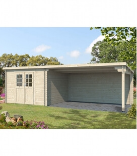 Single slope wooden garden shed 9m² + 4x3m awning