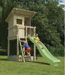 Tour de jeux Beach Hut avec plateforme de 120 cm, toboggan de 2m30