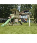 Aire de jeux en bois Beach Hut, toboggan 2m30 et module pour accrocher 2 balançoires