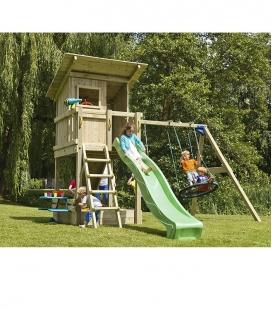 Aire de jeux en bois avec tour Beach Hut, toboggan de 2m30 et module pour accrocher 2 balançoires