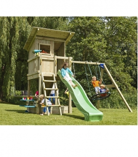 Wooden play area with Beach Hut tower, 2m30 slide and module to hang 2 swings