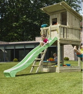 Wooden play area with Beach Hut tower, 2m90 slide and module to hang 2 swings