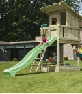 Aire de jeux en bois avec tour Beach Hut, toboggan de 2m90 et module pour accrocher 2 balançoires