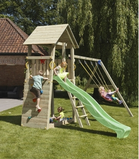 Wooden play area with Belvédère tower, 2m30 slide and module to hang 2 swings