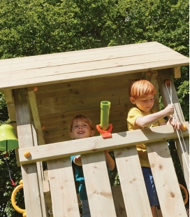 Wooden play area with Kiosk tower, 2m30 slide and module to hang 2 swings