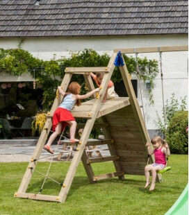 Challenger module - 2 swings and climbing platform for playground