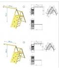 Module Challenger - support pour 2 balançoires et plateforme de grimpe pour aire de jeux