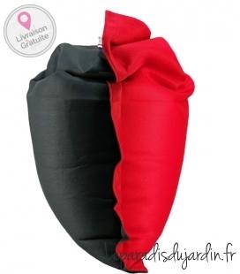 Pouf coussin bi-color 125 x 175 spécial piscine coloris anthracite-rouge