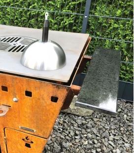 Tablette droite en granit et acier pour Brasero-Barbecue Magnus