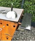 Tablette droite en granit et acier pour Braséro-Barbecue Magnus