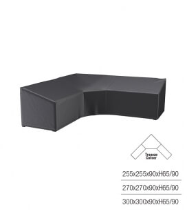Protective cover for corner garden furniture with high trapezoidal backrest