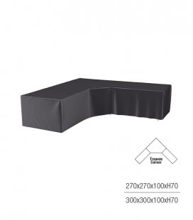 Protective cover for corner garden furniture with low trapezoidal backrest