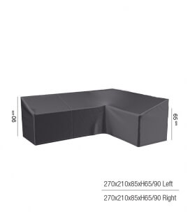 Protective cover for corner garden furniture with high backrest