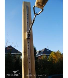 Astucieux rail coulissant pour règler une voile d'ombrage