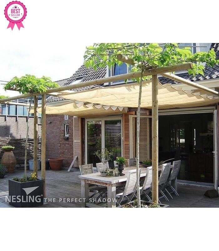 ... Toile Du0027ombre Pour Pergola Bateau Horizontal HDPE Couleur Sable · Store  ...