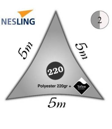 Voile triangulaire imperméable 5m densité 220Gr couleur gris