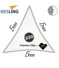 Voile 5m triangle + teflon densité 220Gr couleur blanche