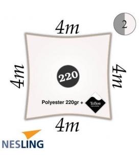 Voile d'ombre carré polyester et finition teflon 4m densité 220Gr couleur blanc