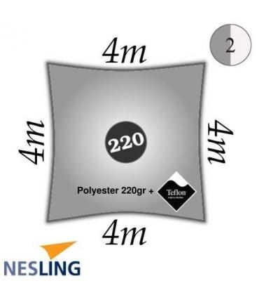 Voile d'ombrage carrée imperméable 4m densité 220Gr couleur gris
