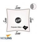 Voile d'ombrage imperméable carré 5m densité 220Gr couleur blanc