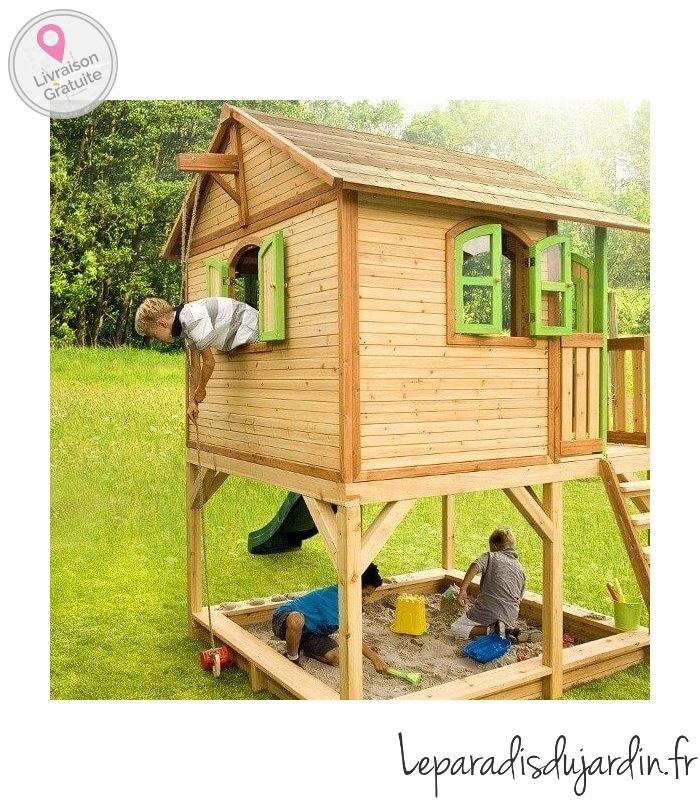 Maisonnette en bois grande dimension pour enfant - Cabane jardin bois enfant ...