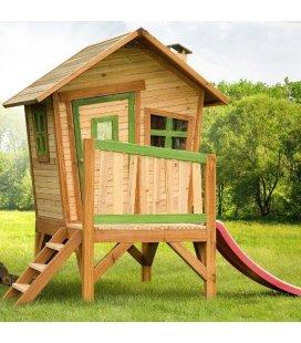 Jardin Cabane pilotis enfant Robin en bois tropical