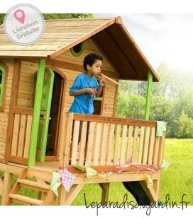 Jardin Maisonnette toboggan enfant Sophie en bois tropical