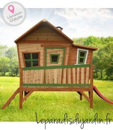 Jardin Cabane sur pilotis enfant Emma en bois tropical