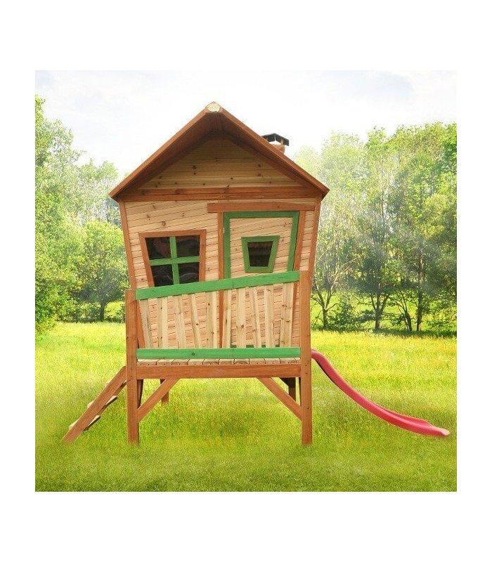 Maisonnette enfant sur pilotis avec toboggan for Maisonnette de jardin pour enfant