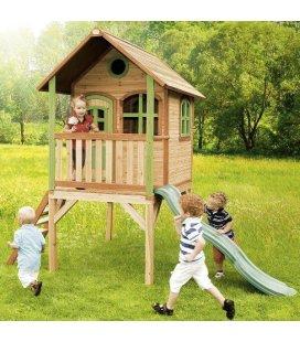 Jardin Cabane toboggan enfant Laura en bois tropical