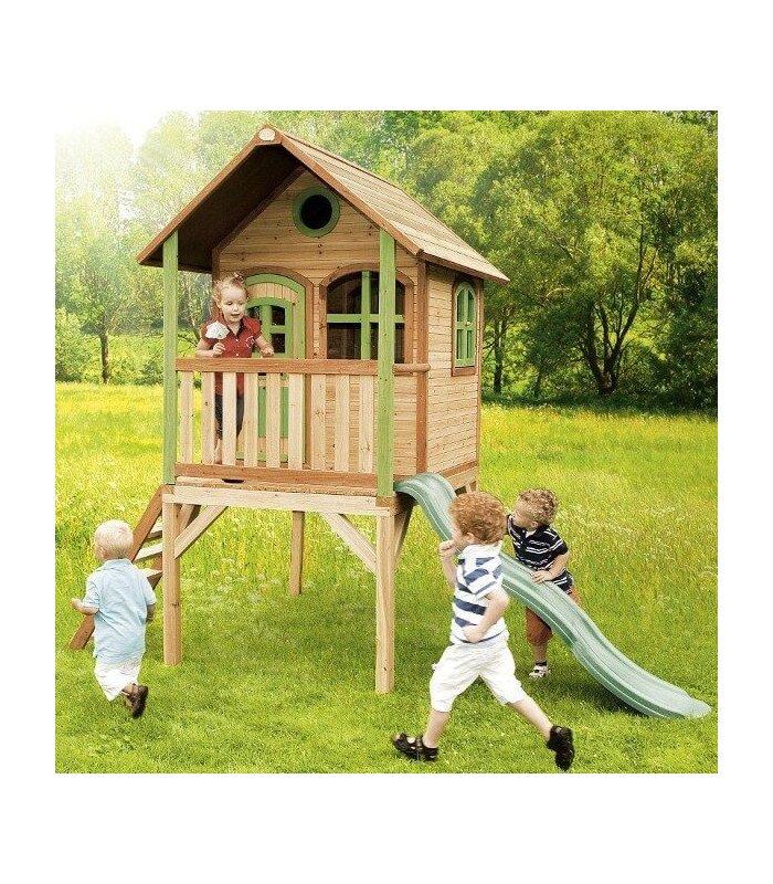 Maisonnette en bois sur pilotis laura - Cabane enfant toboggan ...