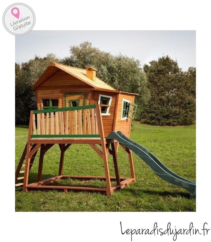 maisonnette en bois max avec toboggan sur pilotis. Black Bedroom Furniture Sets. Home Design Ideas