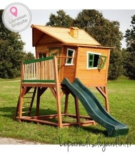 Maisonette sandbox Max toboggan wood untreated