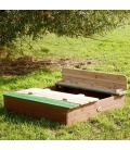 play area Sandpit with Ella wooden seat in exotic wood