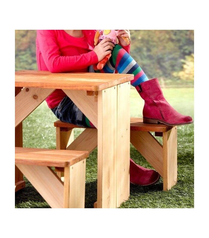 table d 39 exterieur enfant avec banc en bois non trait axi. Black Bedroom Furniture Sets. Home Design Ideas
