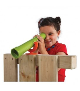 Telescope play area for exotic wood children's hut