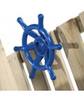 accessory blue boat wheel for log cabin wood axi