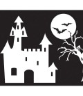 spooky castle-flag accessory for log cabin wood axi