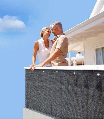 Brise vue ou brise vent ajouré HDPE ardoise pour terrasse et jardin
