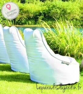 Outbag Slope Outdoor pouf Leather texture skin-white