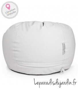 cuir light Slope beanbag of outdoor fabric coloris blanc